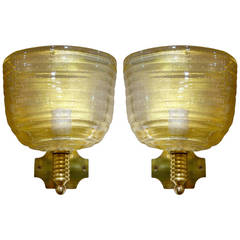 Pair of Large Italian Mid-Century Gold Murano Glass Sconces By Barovier