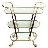 Mid-Century Italian Brass and Walnut Three Tier Bar Cart