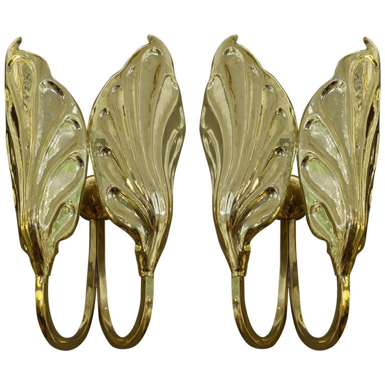 Pair Of Mid-Century Italian Brass Sconces By Tomasso Barbi