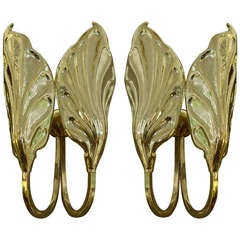 Pair of Midcentury Italian Brass Sconces by Tomaso Barbi