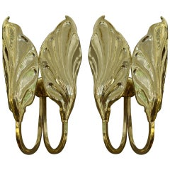 Pair of Midcentury Italian Brass Sconces by Tomaso Barbi