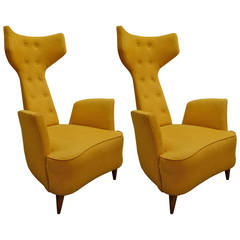 Pair of Limited Edition Italian Leather Zavanella Style Lounge Chairs