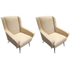 Pair of Mid-Century Modern Italian Sculptural Lounge Chairs or Armchairs