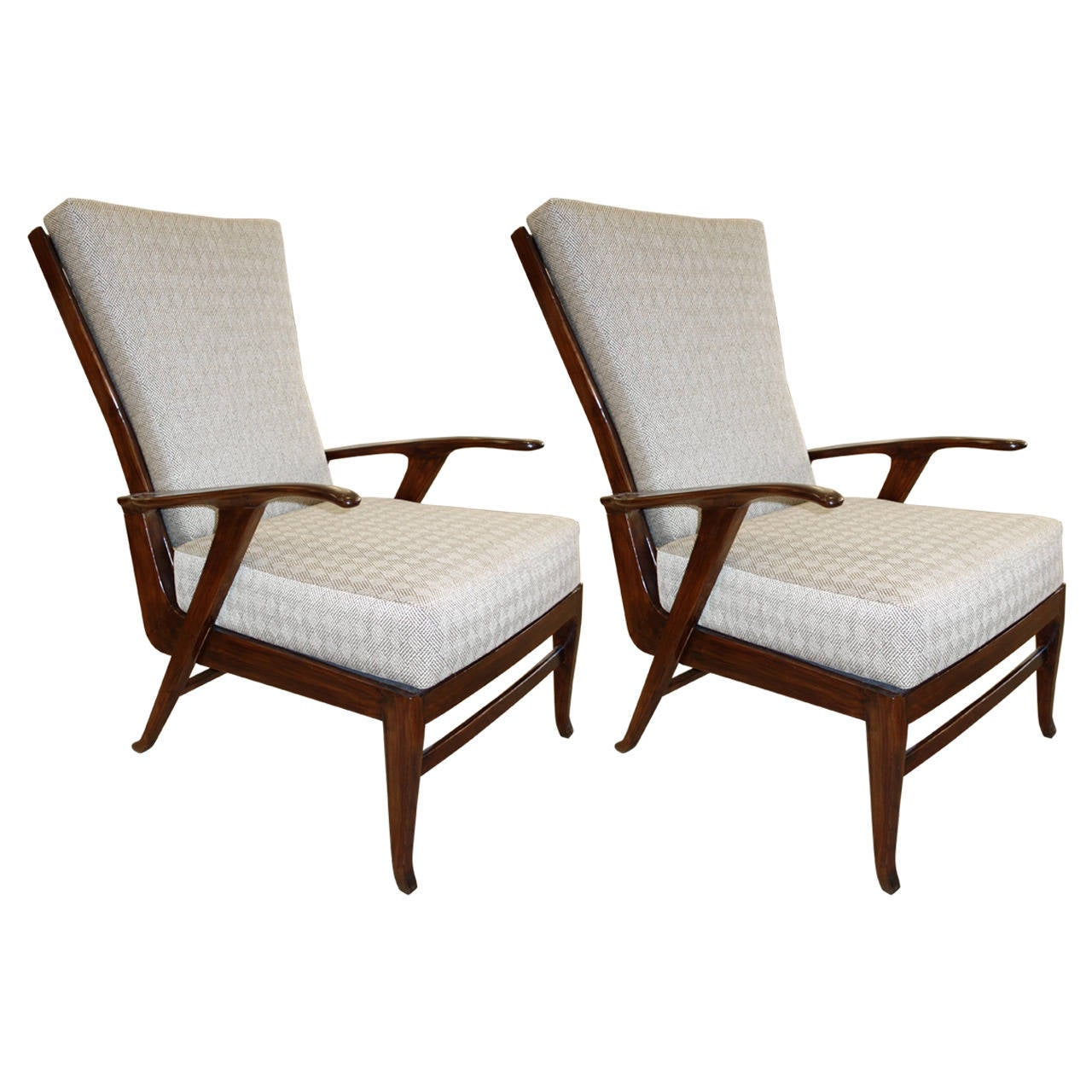 Pair of Italian Mid-Century Reclining Lounge Chairs 1