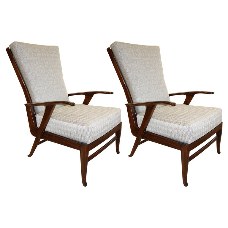 Pair of Italian Mid-Century Reclining Lounge Chairs For Sale