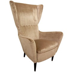 Large Italian Mid-Century Sculptural Silk Velvet Lounge Chair