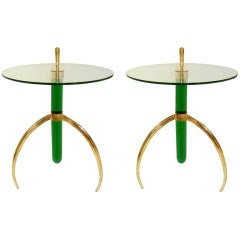 Pair Of Italian Murano Glass And Brass Tripod Side/End Tables