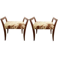 Pair of Italian Mid-Century Walnut & Cowhide Benches/Stools