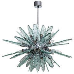 """Italian Fontana Arte Style Sputnik Clear Glass 34"""" Diameter Chandelier"""