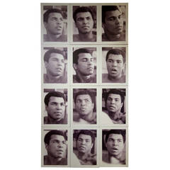 Muhammad Ali Set of 12 Black and White Photographs on Aluminum by Gary Michaels