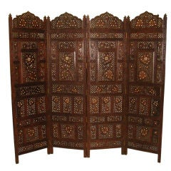 An Early 20th C  Double Sided Brass & Bone Inlaid Indian Screen