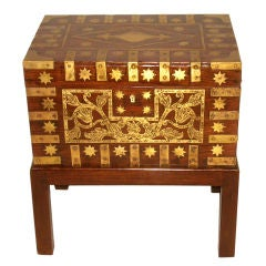 Large 19th C Anglo-Indian Brass Inlaid Box On Stand/Side Table