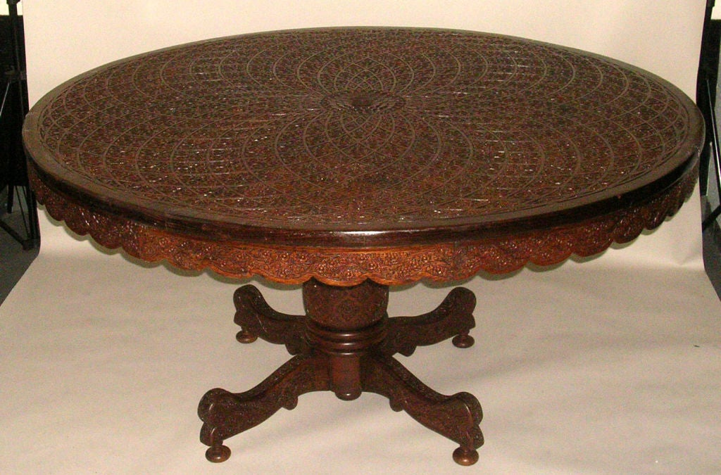 this rare anglo indian geometrically carved 60 center dining table is
