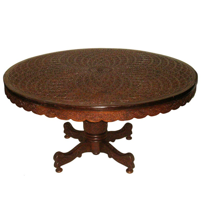 indian carved dining table. this rare anglo indian geometrically carved 60 center dining table is