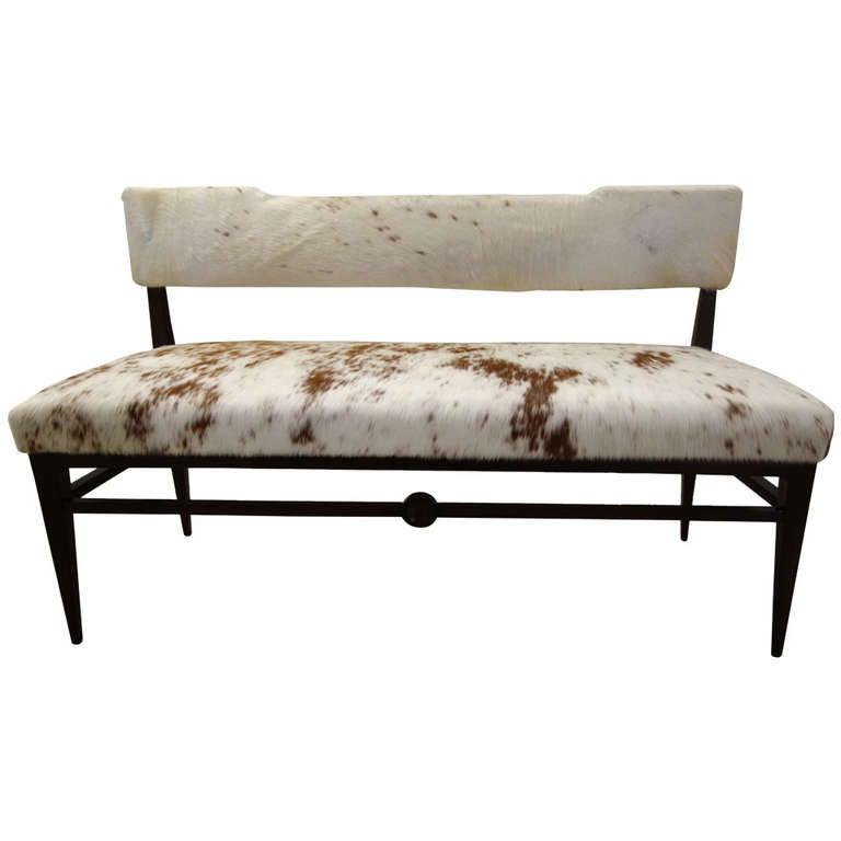 Mid Century Modern Italian Cowhide Upholstered Settee Or