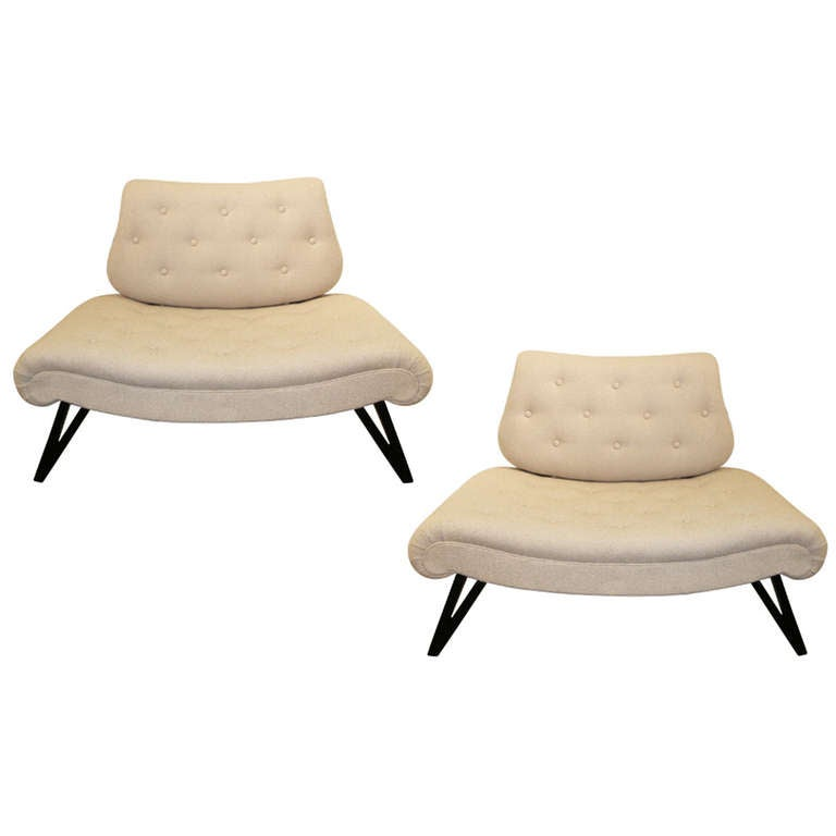 Pair of Mid-Century Grosfeld House Slipper Chairs/Settees For Sale