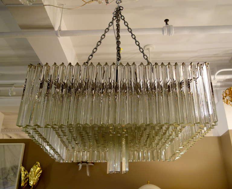 "Shop Good Earth Lighting Metropolitan 3 Light Bronze: Italian Mid-Century Venini Triedi Glass 32 "" Square"
