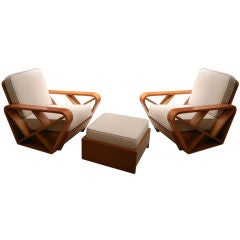 Paul Frankl Attr. Pair Chairs & Ottoman, Other Pieces Available