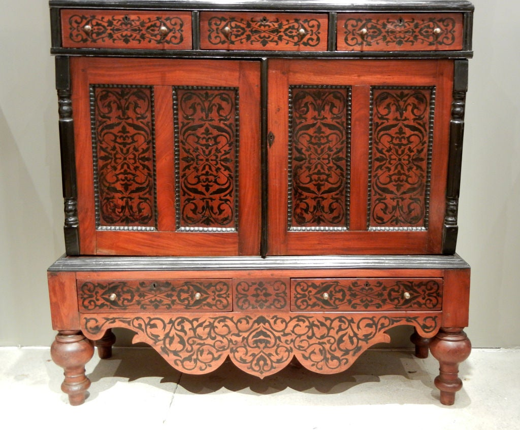 Anglo Raj Colonial Dutch Mahogany Cabinet Inlaid with Ebony For Sale