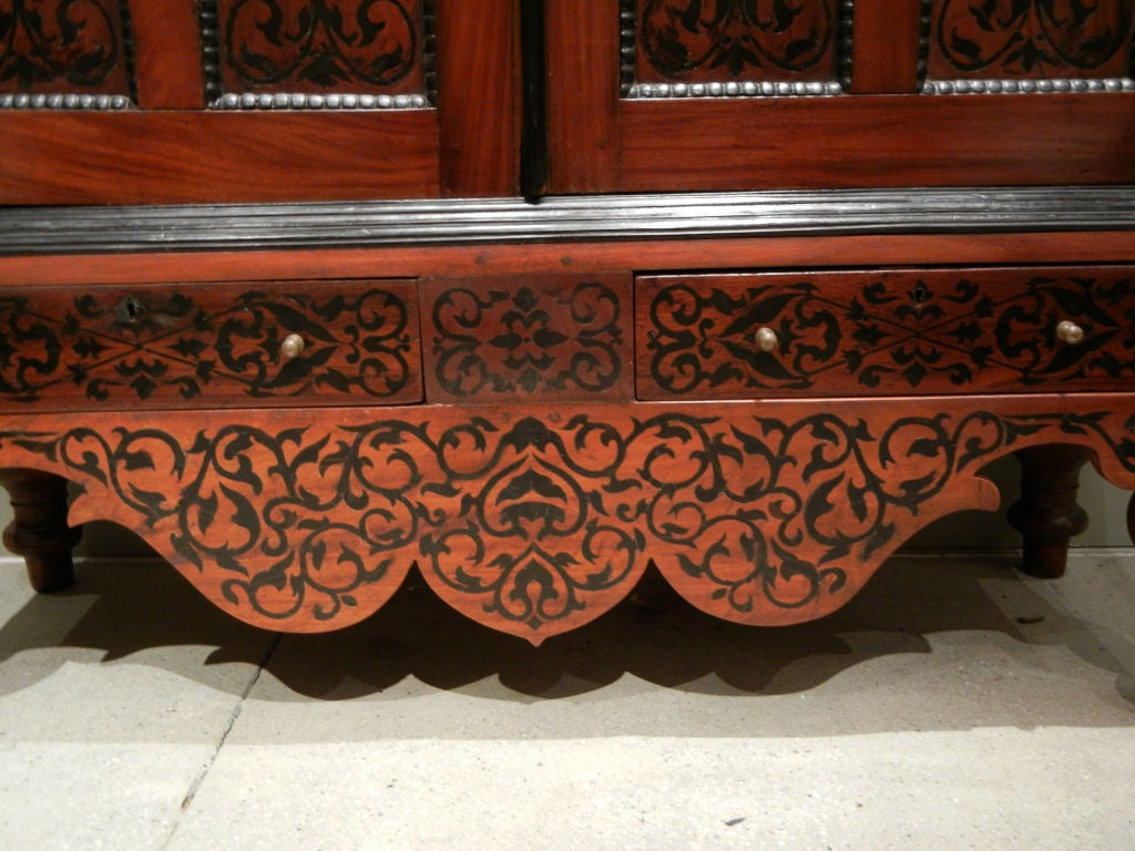 Indian Colonial Dutch Mahogany Cabinet Inlaid with Ebony For Sale