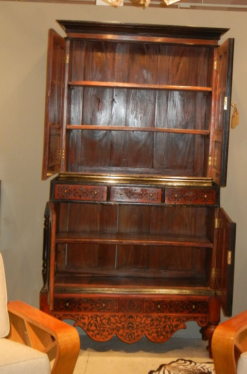 Colonial Dutch Mahogany Cabinet Inlaid with Ebony For Sale 3