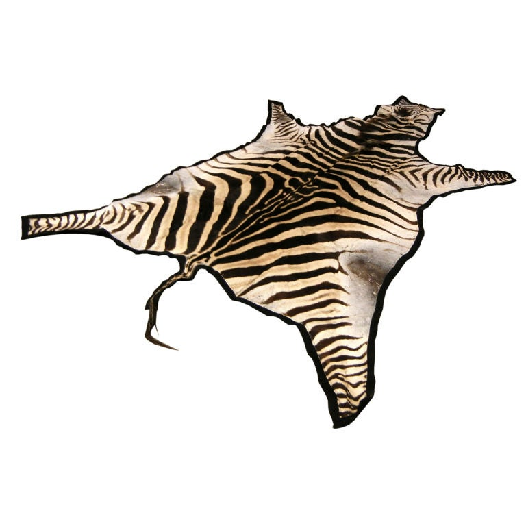 A Brown Striped African Zebra Hide Felted Rug At 1stdibs
