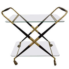 Mid-Century Italian Two Tier Brass And Wood Bar Cart