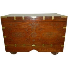 Antique Burmese Brass Inlaid Trunk/Side/End Table On Wheels