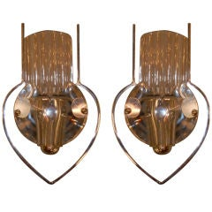 Pair Of  Italian Chrome & Glass Sconces By Sciolari