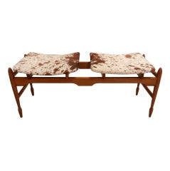Mid-Century Italian Floating Two Seat Bench In Cowhide
