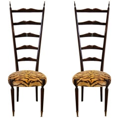 Pair Of Mid-Century Italian Chiavari Chairs With Tiger Velvet