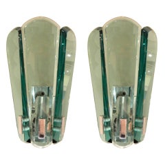 Pair Of Mid-Century Italian Fontana Arte Style Glass Sconces