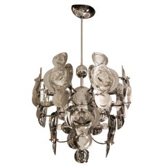 Sciolari Mid-Century Italian 12-Light Chrome & Glass Chandelier