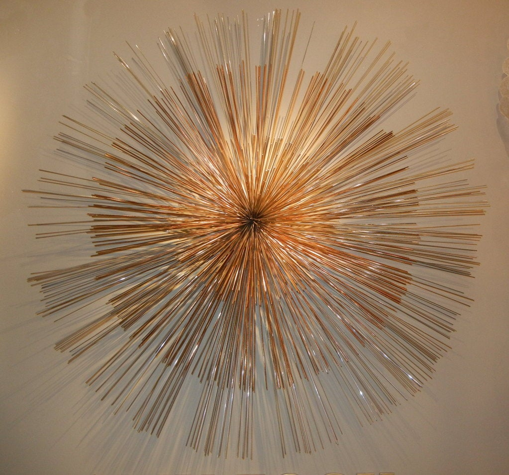 Signed curtis jere multi toned starburst metal wall for Wall ornaments