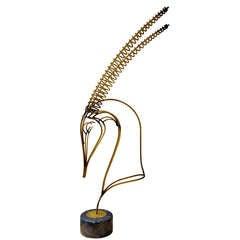 """Curtis Jere 39"""" Brass Gazelle Tabletop Sculpture"""