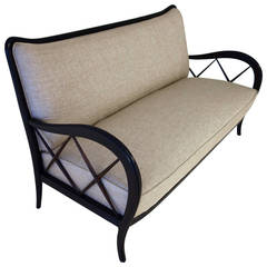 Italian Mid-Century Paolo Buffa Style Settee, Matching Armchairs Available