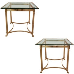 Pair of Italian Square Brass End/Side Tables With Hooved Feet
