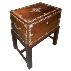 Large Antique Anglo-Indian Inlaid Box On Stand/Side/End Table
