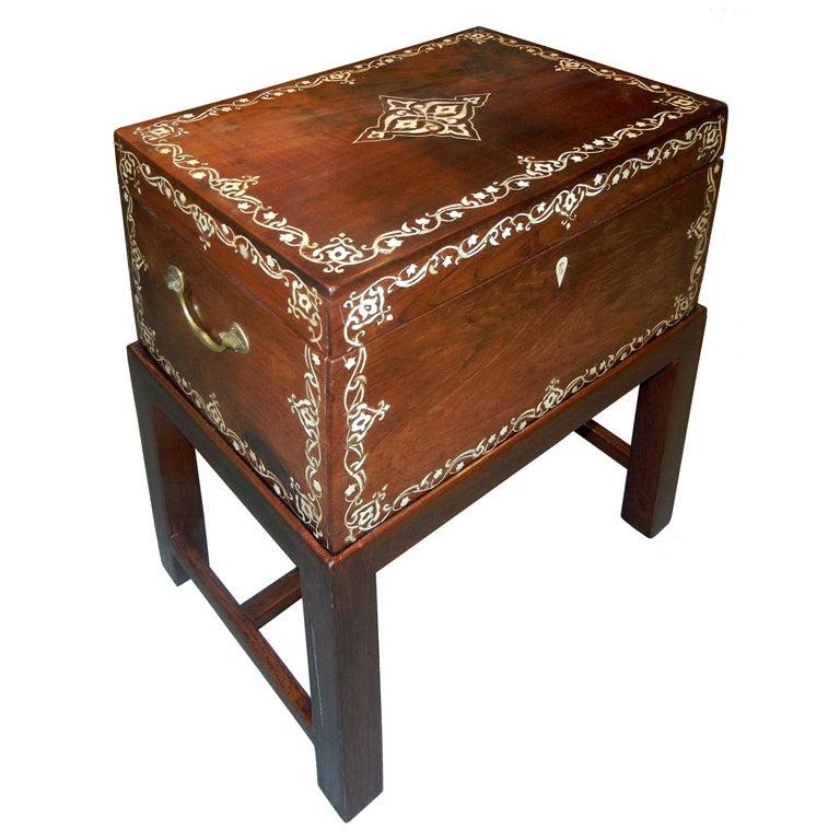 Large Antique Anglo Indian Inlaid Box On Stand Side End Table For Sale At 1stdibs