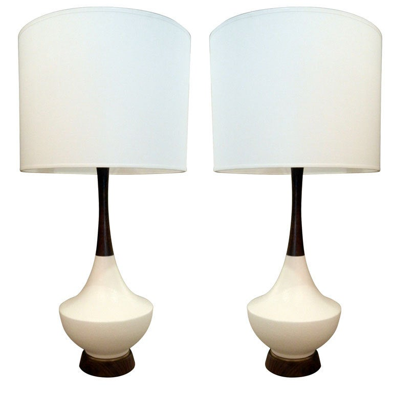 pair of mid century danish teak and ceramic table lamps at 1stdibs. Black Bedroom Furniture Sets. Home Design Ideas