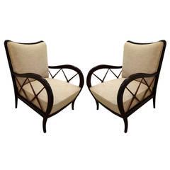 Pair of Italian Mid-Century Paolo Buffa Style Armchairs
