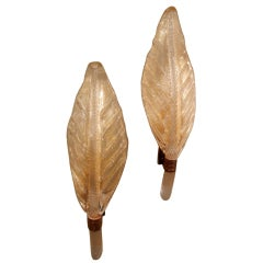 A Pair Of Italian Mid-Century Gold Murano Leaf Sconces By Seguso