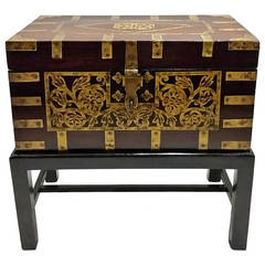 Large Anglo-Indian Brass Inlaid, Fitted Box or Side Table on Stand