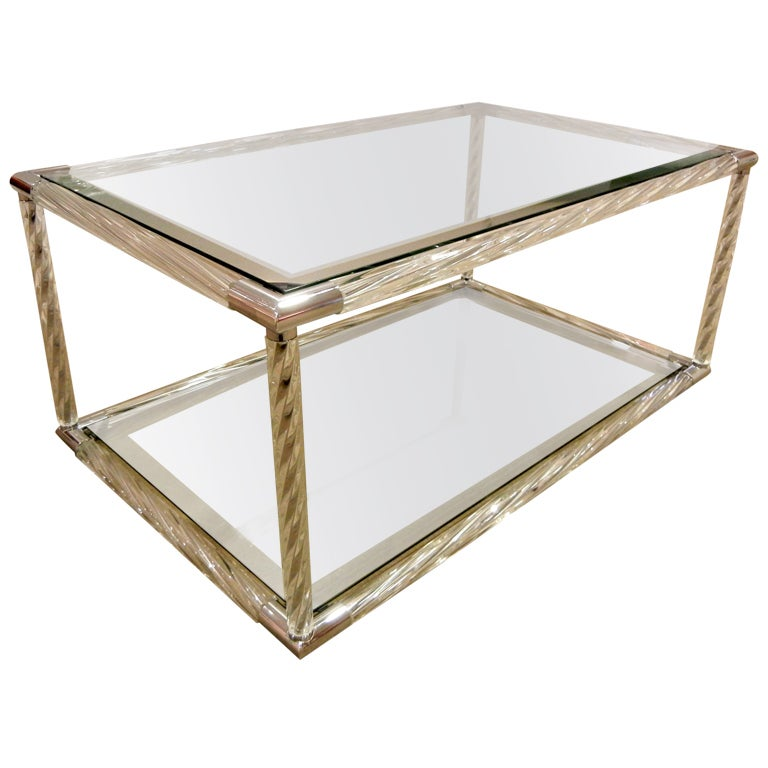Italian Clear Murano Glass Coffee Cocktail Table By Barovier At 1stdibs