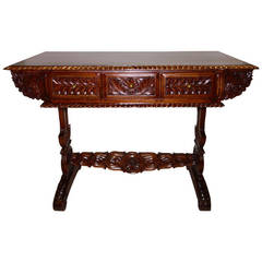19th Century Anglo-Indian Carved Rosewood Desk or Sofa Table