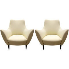 Pair of Mid-Century Style Sculptural Italian Lounge Chairs with Wide Flared Arms
