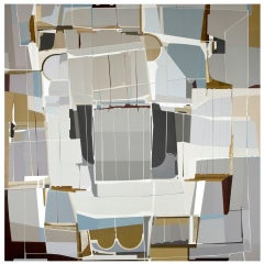 """Metropole,"" 64"" x 64"" Framed Painting By Artist James Kennedy"