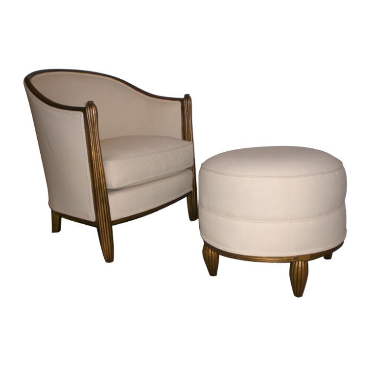 Pair of barrel arm chairs with matching ottomans at 1stdibs for Matching arm chairs