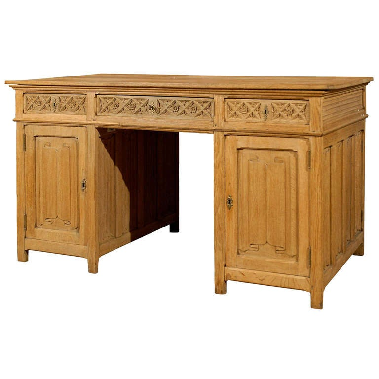 Gothic Revival English Desk of Bleached Oak with Linenfold Motifs, circa 1830