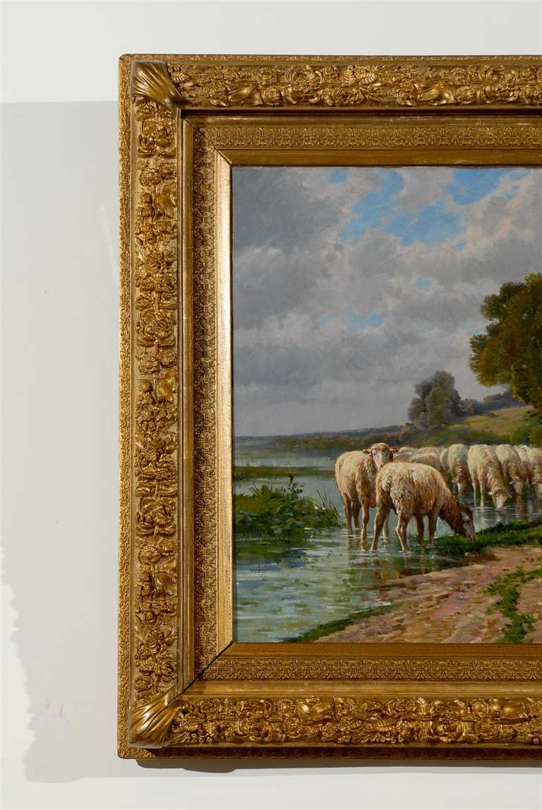 Canvas French Barbizon Painting of a Shepherd with His Herd of Sheep, Late 19th Century For Sale